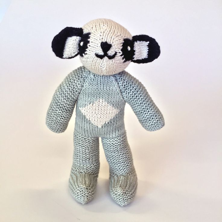 Billy Badger.  100% cotton, hand knitted soft toys: forms part of our Zimbabwean community upliftment project.  To order email info@bunnyandclyde.co.za