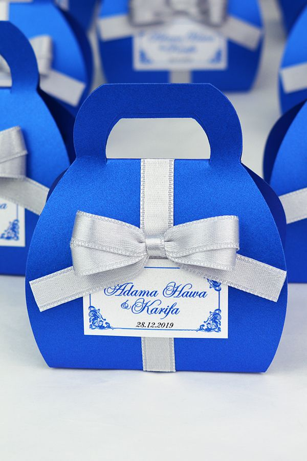 Royal Blue Wedding Favor Gift Box With Silver Satin Ribbon Bow And Your Names Elegant Personalized Bonbonniere Small Purse For Candies Royal Blue Wedding Decorations Blue Wedding Decorations Blue Wedding Favors