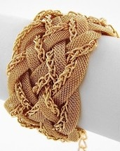 "NEW Gold Tone Multi Strand Mesh Metal Bracelet 1 5/8"" Wide"
