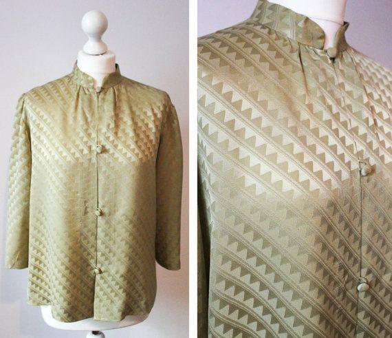 Italian Vintage Silk Shirt/ Long Sleeve Shirt/ by BelmondoVintage