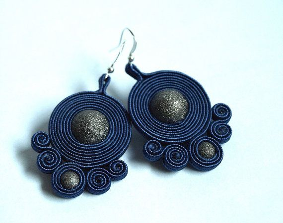 Soutache earrings Glitter  - galaxy earrings - christmas gift under 25 - gray grey denim navy blue - bilateral earrings