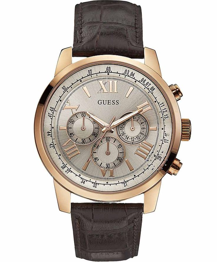 GUESS Rose Gold Chrono Brown Leather Strap Μοντέλο: W0380G4 Η τιμή μας: 169€ http://www.oroloi.gr/product_info.php?products_id=37973
