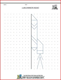 Line Symmetry Rocket Picture, geometry worksheets for kids