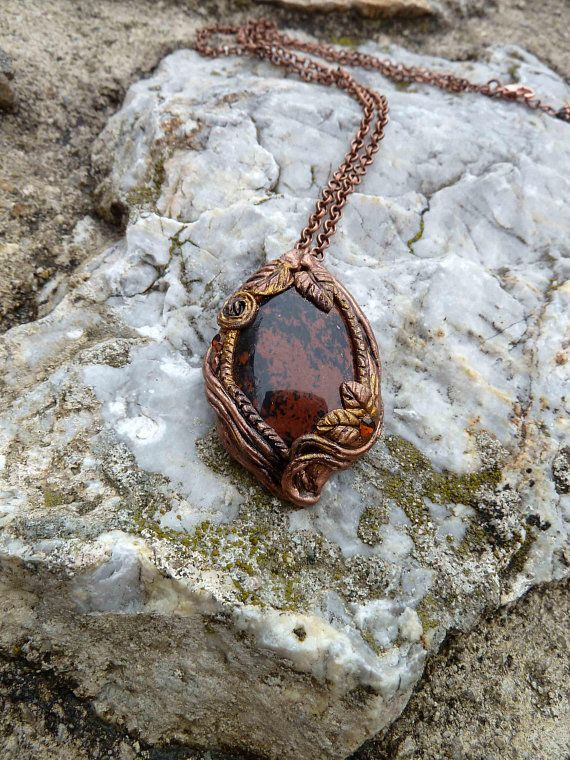 Heart of nature  brown obsidian pendant hand-made necklace