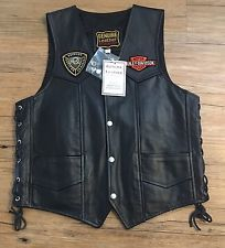 Genuine Leather By Manzoor Harley Davidson Vest HOG Missouri Chapter Size 38 NEW