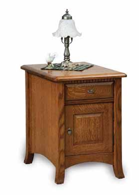 Amish Carlisle Enclosed End Table with Drawer & Door