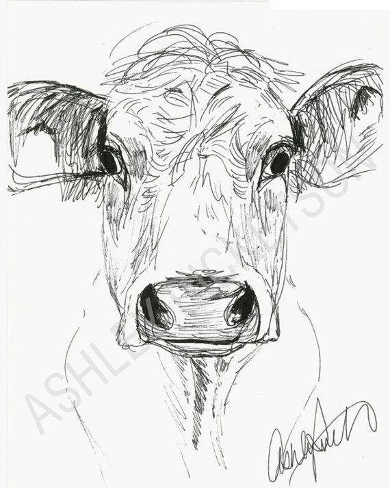 Cow Sketch by AshleyRicketson on Etsy
