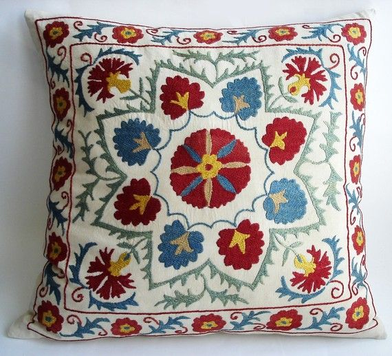 Embroidered pillow made from antique Turkish textiles.