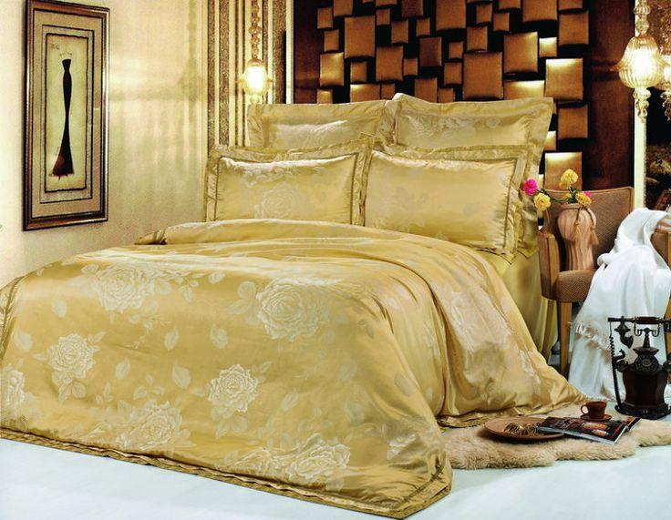 Роскошное шелковое постельное белье, жаккардовое, жаккардовый шелк, Kingsilk арт. sm-21.  Желтого, песочного, золотого, золотистого цвета. Размеры, описание, характеристики, низкие цены, скидки, недорого, доставка.