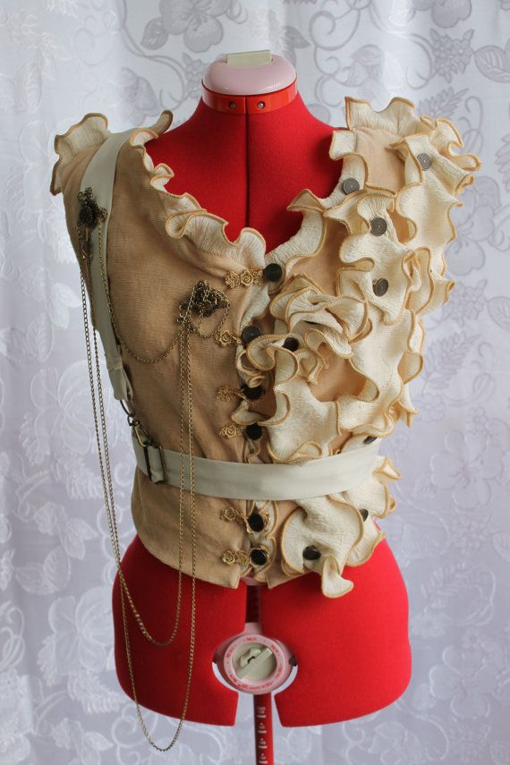 Steampunk Vest Regency Officer Jacket with Brooches, Charms, & Chain xs, s, m, l, xl