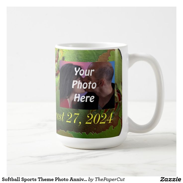 Softball Sports Theme Photo Anniversary Cup - $21.50 - Softball Sports Theme Photo Anniversary Cup - by #RGebbiePhoto @ #zazzle - #Softball #Wedding #Sport - Your photo and names with your date. Use this to announce your upcoming wedding, or to mark an anniversary date! Yellow Softball Sports theme for avid sports fans and players. Safety yellow leather ball with red stitch accent.