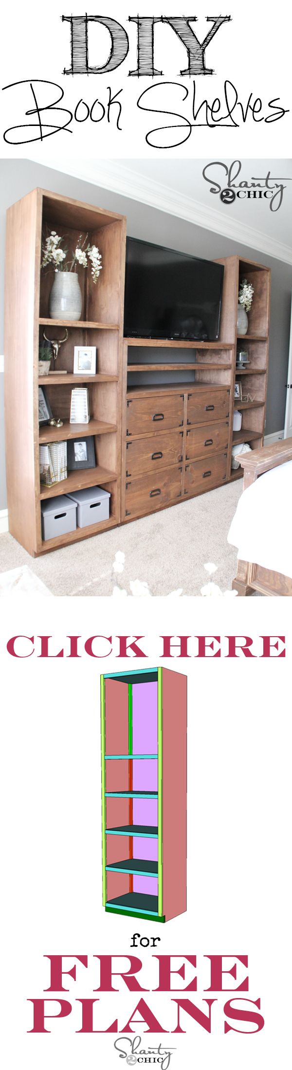 Free Plans and how-to tutorial to build your own book shelves at www.shanty-2-chic.com