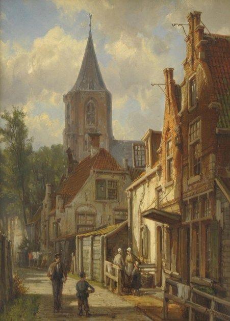 Willem Koekkoek (Amsterdam 1839-1895 Nieuwer-Amstel (Amstelveen)) Stadsgezicht met kerk - Kunsthandel Simonis en Buunk, Ede (Nederland).