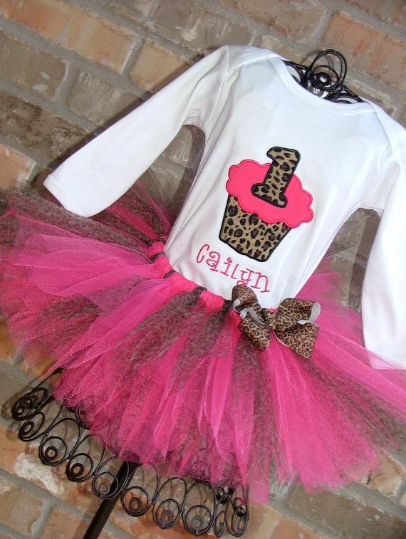 Hot Pink Cheetah Birthday Cupcake Tutu Outfit by TickleMyTutu, $49.95