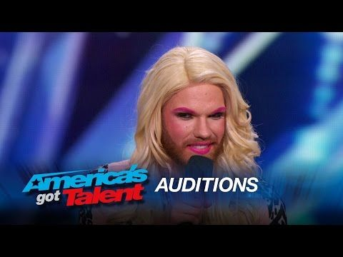 Scott Heierman: Bearded Drag Queen Comedian Rules the Stage - America's Got Talent 2015 - YouTube  I absolutely loved his audition.