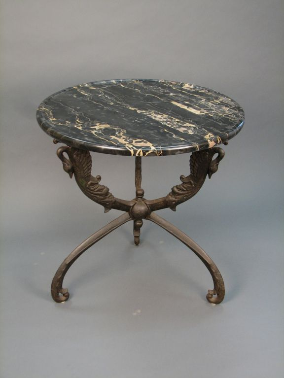 Cast Iron and Black and Gold Portor Marble Gueridon