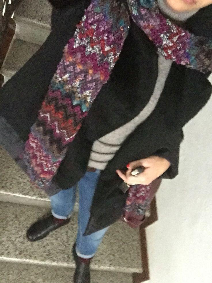 Missoni scarf, beatle shoes, cachemire sweater