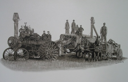 Painted Past Publishing, Diana Cumberland Stupniski Original Titled: The threshing Team Limited Edition Prints Available