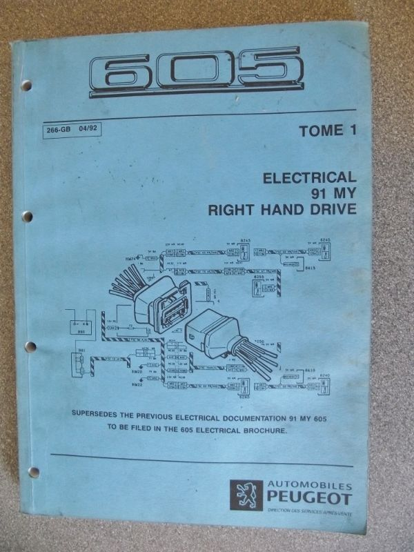 Peugeot 605 Wiring Diagram Manual 1992 266 92  With
