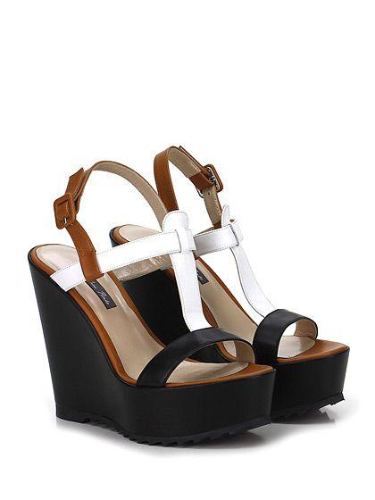 Andrea Pinto - Zeppe - Donna - Zeppa in pelle con cinturino alla caviglia e suola in gomma. Tacco 125, platform 45 con battuta 80. - BIANCO\NERO\CUOIO - € 129.00