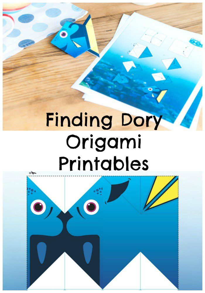 Finding Dory origami printables, fun paper craft for kids and disney fans