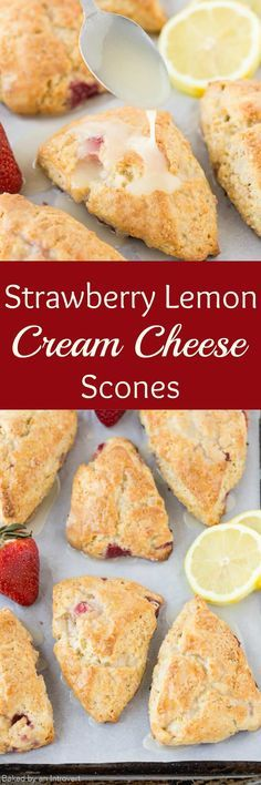 Lemon Cream Cheese Scones filled with fresh strawberries and zesty lemon to make the perfect spring breakfast. via @introvertbaker