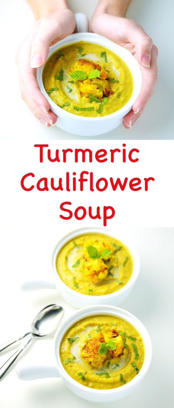 This Turmeric Cauliflower Soup is so creamy and delicious! This is Dairy Free, Gluten Free, and Vegan | #Vegan #HealthyEating #CleanEating Sherman Financial Group