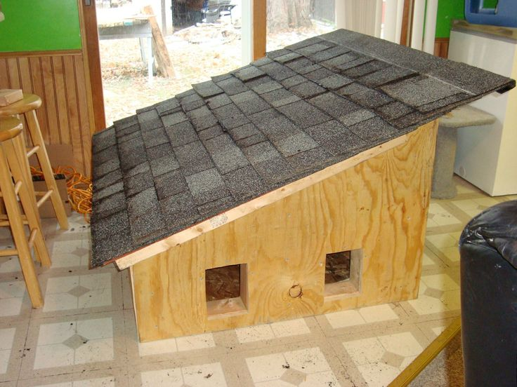 I made an insulated and shingled wooden house for feral cats.