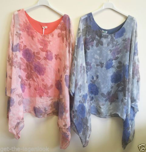 New-Italian-LAGENLOOK-Oversized-FLORAL-ROSE-FLOWER-Batwing-KAFTAN-SILK-Top-Tunic