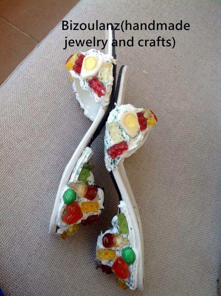 Shoe refashion, with edible stuff, made non edible!