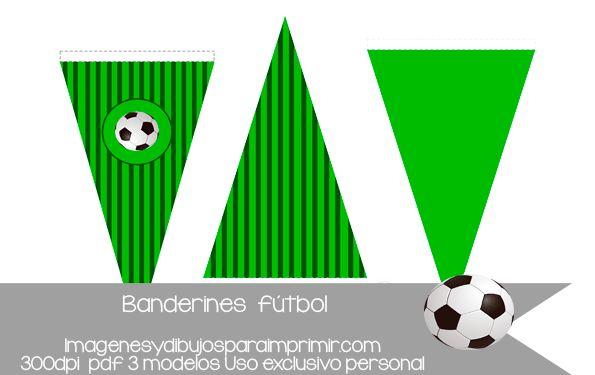 Banderines de futbol para decorar fiestas.consigue tu decoración con los tres modelos diferentes, y los dos colores disponibles verde y azul y personalizalos con las letras, poniendo el texto que quieras! #futbol #fiestas #cumpleaños #banderines