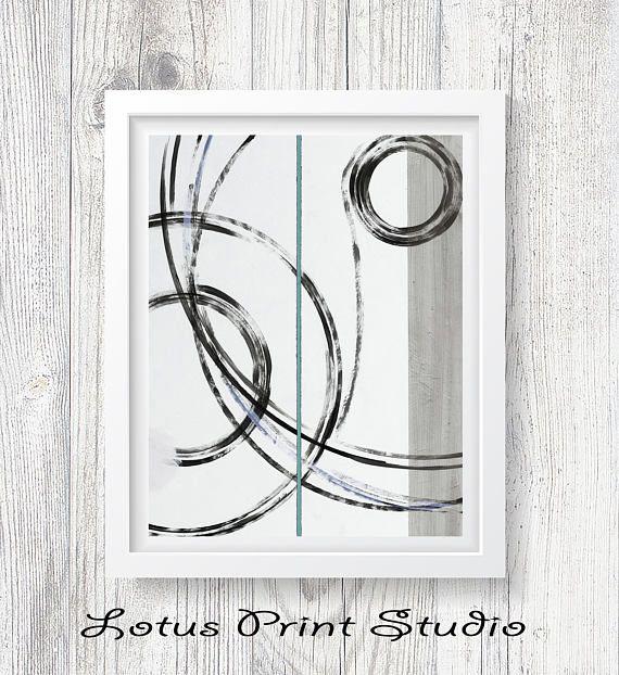 Abstract Painting Wall Art Black and White Circles Print