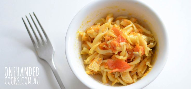 Carrot, Tomato and Cheese Pasta - One Handed Cooks