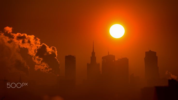 Sun over Warsaw - December sunrise over the Warsaw cityscape.