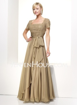 A-Line/Princess Scoop Neck Ankle-Length Chiffon  Charmeuse Mother of the Bride Dresses With Lace (008006154)