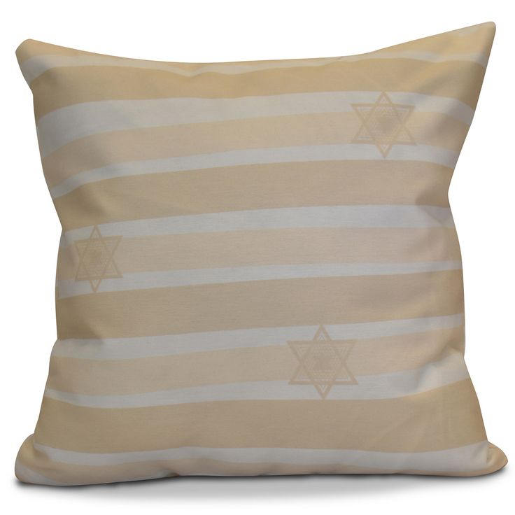 Hanukkah 2016 Decorative Holiday Striped Outdoor Throw Pillow