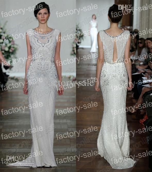Wholesale A-Line Wedding Dresses - Buy 2014 Luxury Jenny Packham High Neck Wedding Dresses Cap Sleeved Chiffon Formal Evening Gowns with Beading BO3436, $235.87 | DHgate