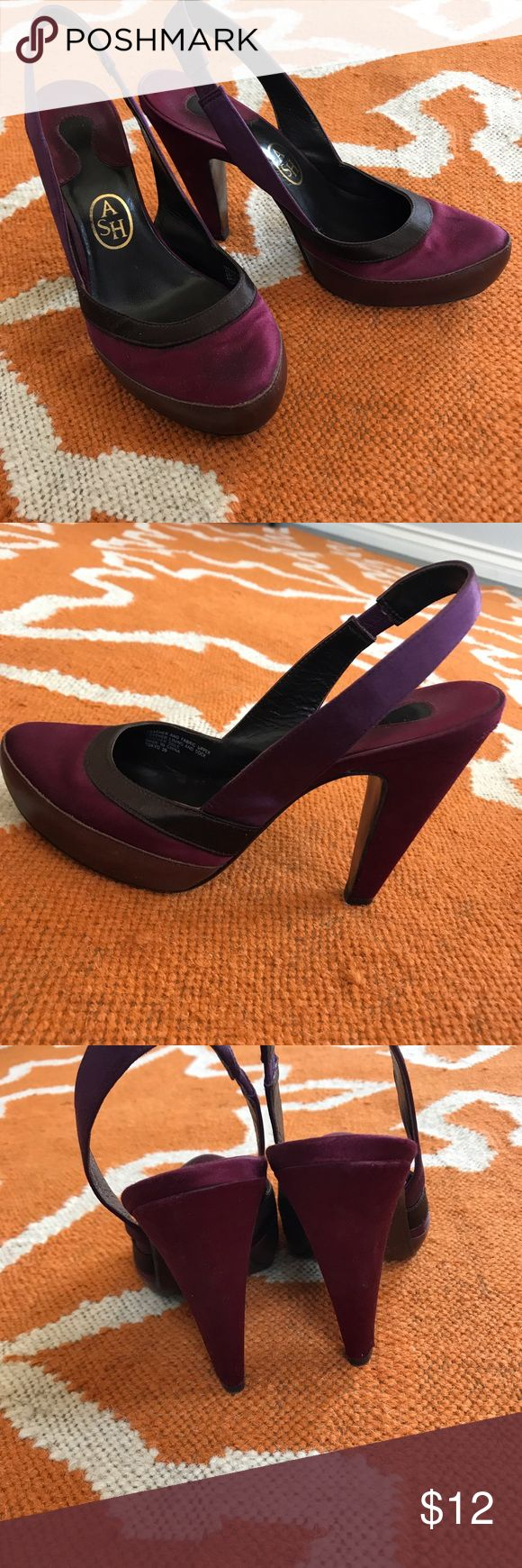 ASH magenta sling back heels Tops of shoes are a satiny fabric in a beautiful magenta color. 4 in heel with 1 in platform. Some discoloration at front toe area - see photos. Size is euro 39. I wear a 8/8.5 and these fit me perfectly.  Sizing info for this brand can be found here: https://www.ashfootwear.co.uk/size-guide-i26 Ash Shoes Heels