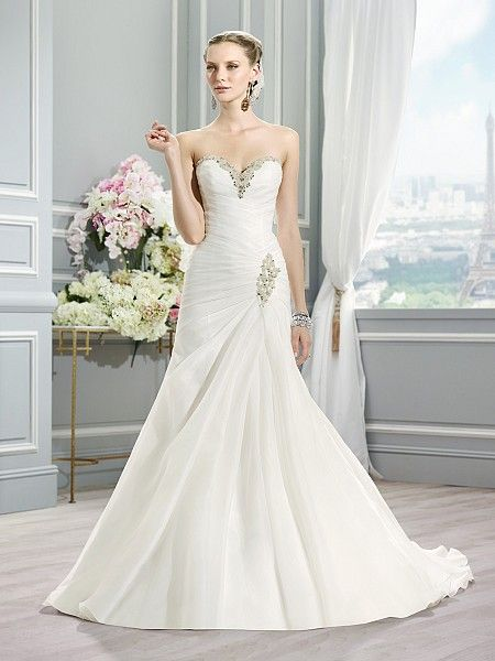 Moonlight Style J6363 Strapless Organza Fit And Flare Wedding Dress Ruched Silver