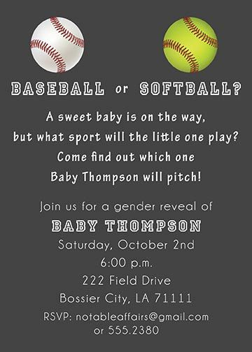 PRINTABLE Baseball or Softball Baby Shower Gender Reveal Party Invitation - colors can be changed. $12.00, via Etsy.