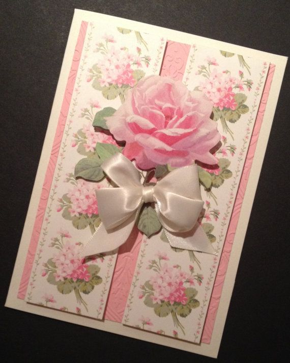 Pink and Ivory Floral Valentine's Day or All Occasion Card with Anna Griffin Papers