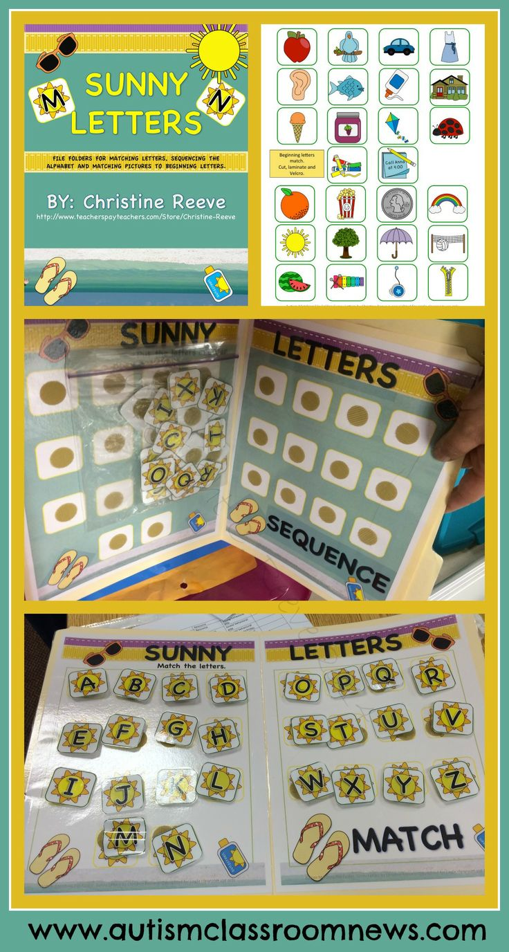 These 6 common core aligned, literacy file folders will make perfect summer tools for centers in younger elementary classrooms as well as for work systems and instruction in special education classrooms. They are great for structured or independent work systems for students with autism and related disabilities as well. They focus on basic matching and sequencing skills for letters with capitals, lower case, and pictures of items to match to beginning sounds. $3