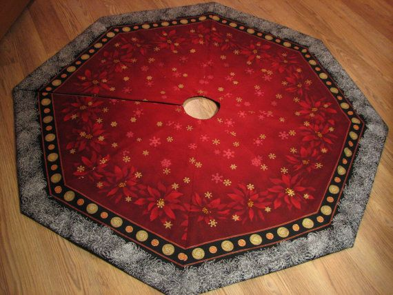 Elegant Octagon Christmas Tree Skirt in Asian by MiladyCreations, $74.00