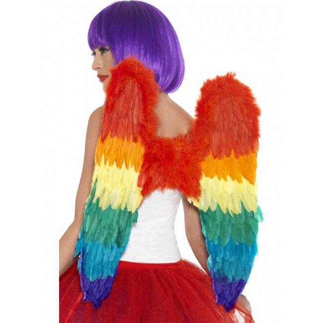 Bunte Federflügel in Regenbogefarben. Passend für viele individuelle Kostümideen.