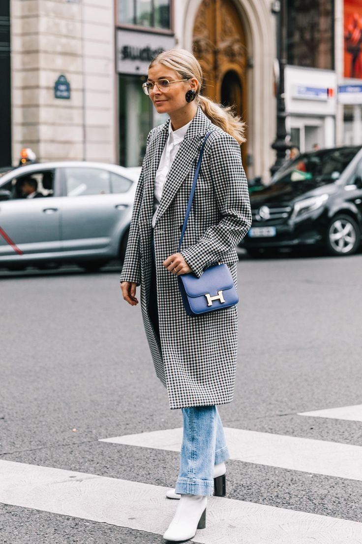 Street Style #PFW #fashion #outfit #ootd #denim #blazer #style