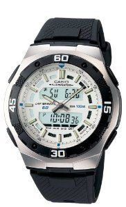 Casio Men's AQ164W-7AV Ana-Digi Sport Watch Casio. $29.45. Quartz movement. Water-resistant to 330 feet (100 M). Case diameter: 43.5 mm. Metal case; white dial; day-date-and-month functions. Protective mineral crystal protects watch from scratches
