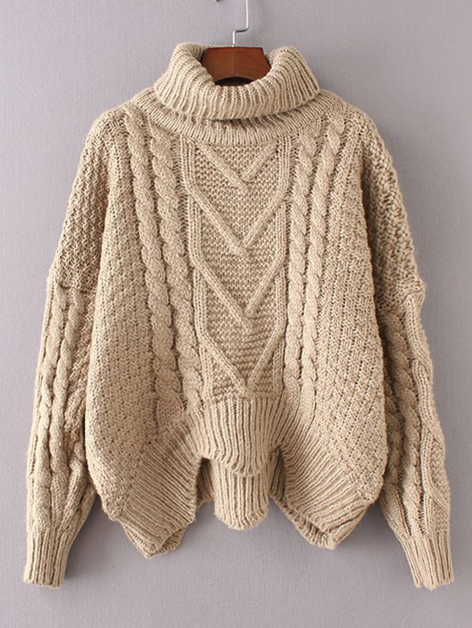 Shein Cable Knit Turtleneck Asymmetrical Sweater