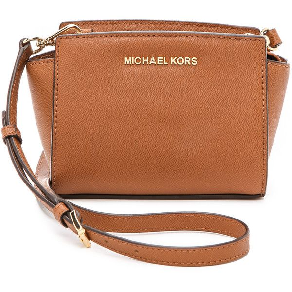 Michael Michael Kors Selma Mini Messenger Bag - Luggage ($178) ❤ liked on Polyvore featuring bags, messenger bags, purses, michael kors, torby, leather strap bag, leather bags, brown leather messenger bag, brown messenger bag and mini messenger bag