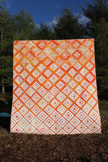 "Gorgeous ""Diamonds in the deep"" quilt from Leland Ave Studios http://www.lelandavestudios.com/2014/12/02/diamonds-deep-finish/"