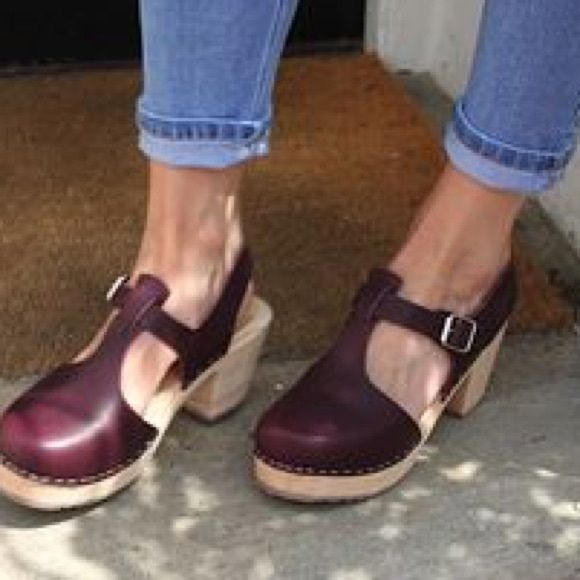 """Lotta from Stockholm Clogs Only selling because I want to get them in another color. Heel: 7cm=2.6"""" Size 40, but are a true 8.5. Could fit an 8, but not a 9. Color: dark eggplant most like 2nd pic! Brand: Lotta from Stockholm Swedish Hasbeens Shoes Mules & Clogs"""